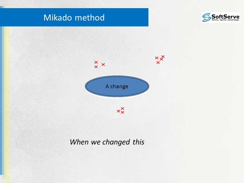 Mikado method A change When we changed this