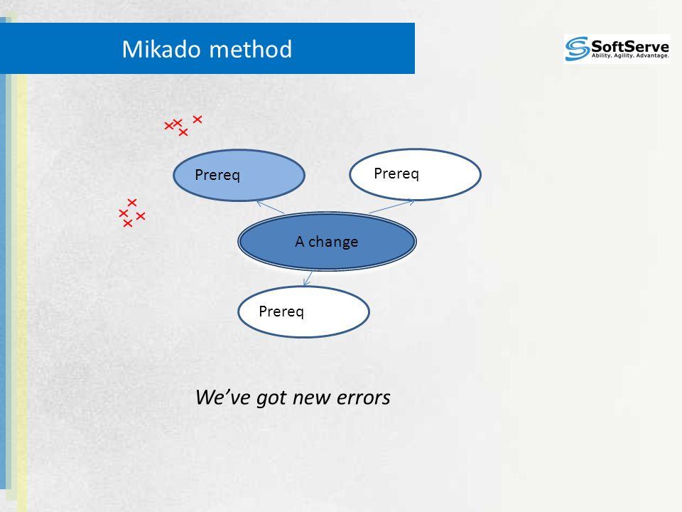 Prereq Mikado method A change We've got new errors