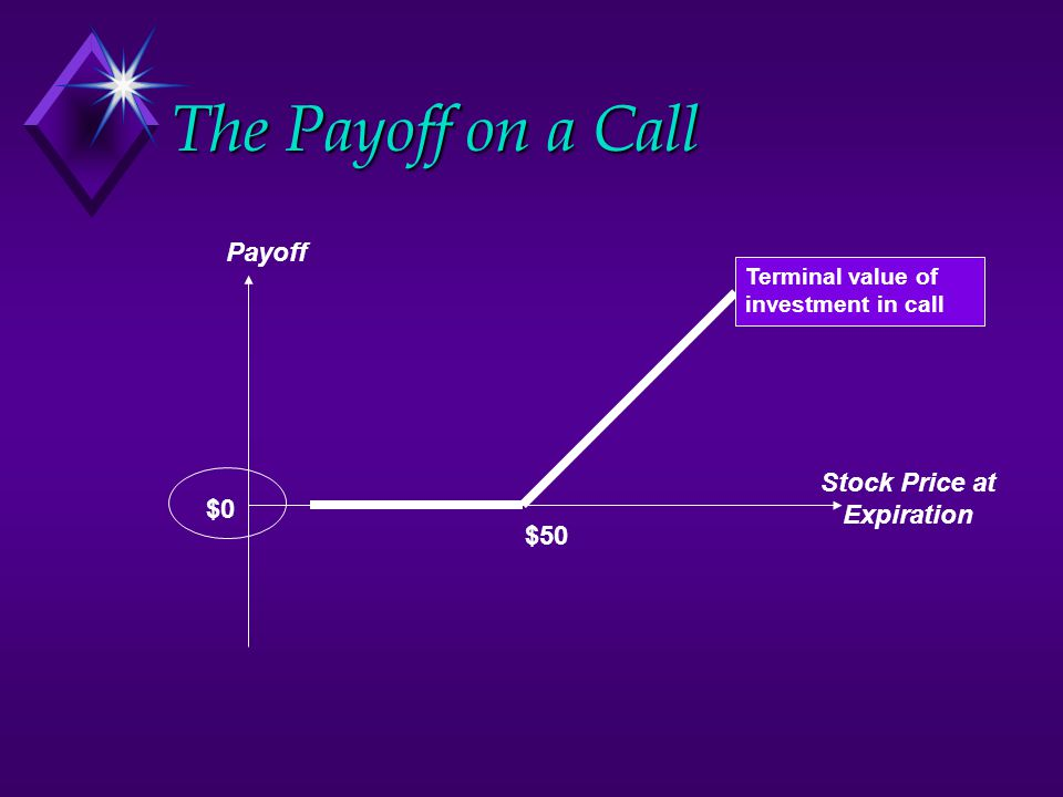 The Payoff on a Call Payoff $50 Stock Price at Expiration $0 Terminal value of investment in call