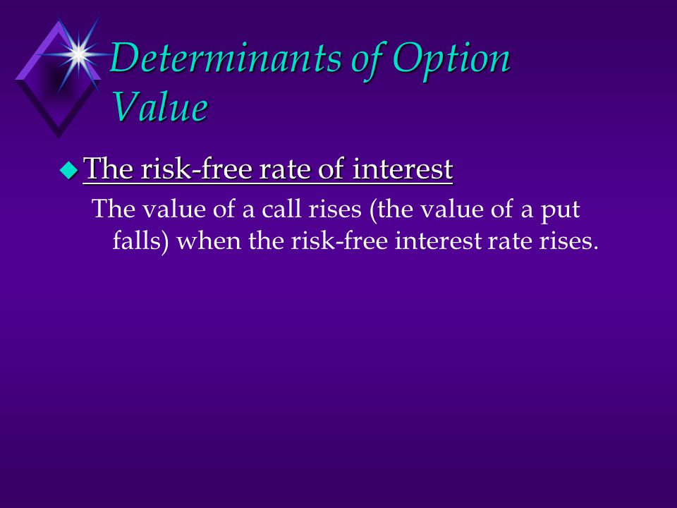 Determinants of Option Value  The risk-free rate of interest The value of a call rises (the value of a put falls) when the risk-free interest rate ri
