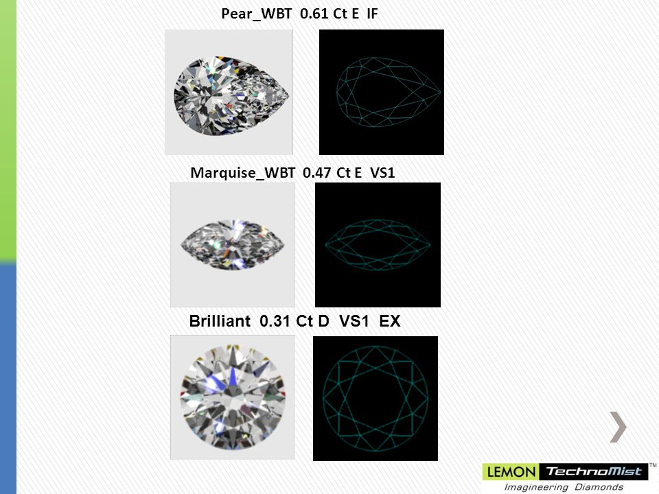 Pear_WBT 0.61 Ct E IF Marquise_WBT 0.47 Ct E VS1 Brilliant 0.31 Ct D VS1 EX