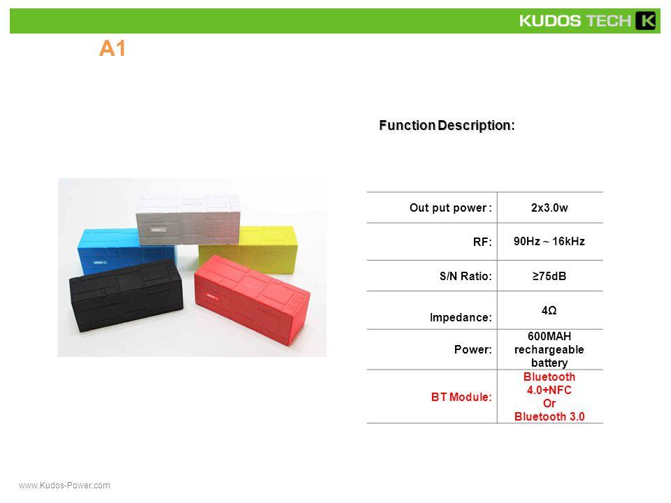 A31 Function Description Function Description: Out put power :1x3.0w RF: 90Hz ~ 16kHz S/N Ratio:≥75dB Impedance: 4Ω Power: rechargeable battery BT Module:Bluetooth 3.0 www.Kudos-Power.com