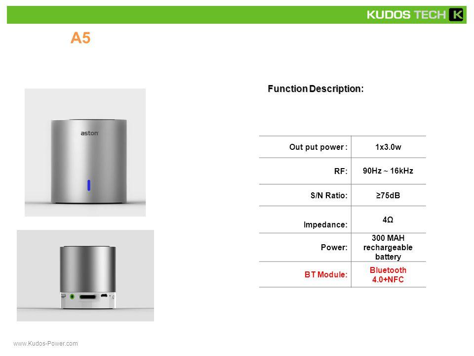 A50 Function Description Function Description: Out put power :1x3.0w RF: 90Hz ~ 16kHz S/N Ratio:≥75dB Impedance: 4Ω Power: 300 MAH rechargeable battery BT Module: Bluetooth 4.0+NFC www.Kudos-Power.com