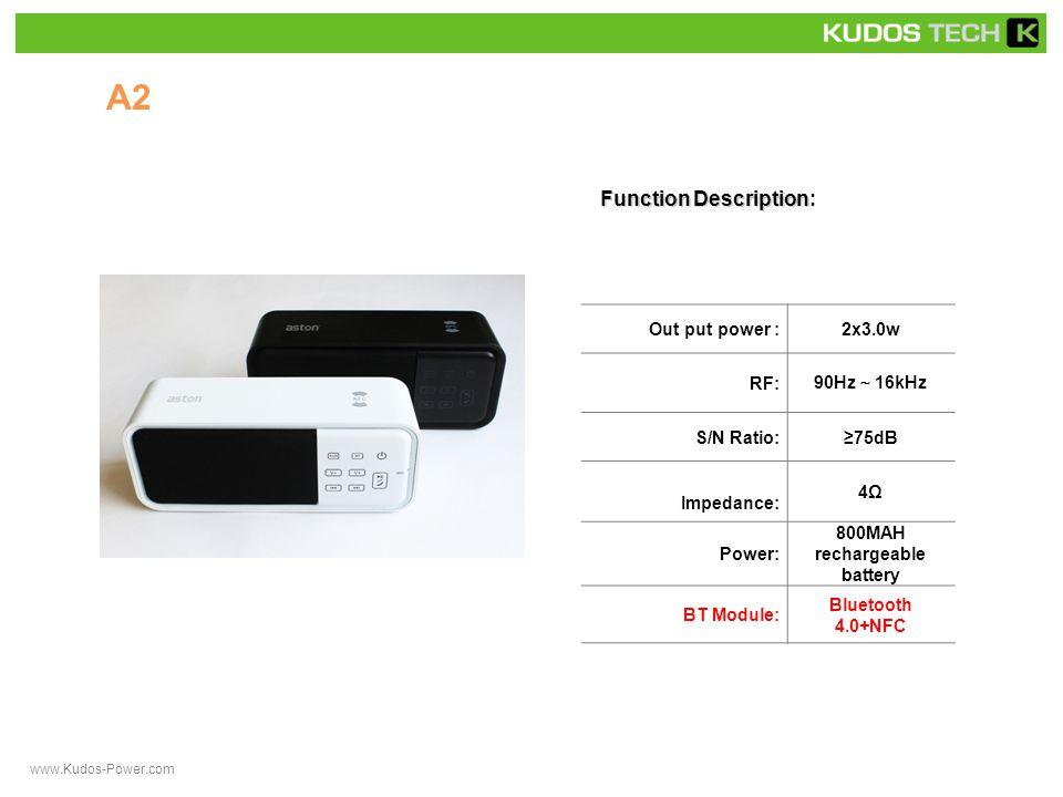 A32 Function Description Function Description: Out put power :1x3.0w RF: 90Hz ~ 16kHz S/N Ratio:≥75dB Impedance: 4Ω Power: rechargeable battery BT Module:CSR 4.0 www.Kudos-Power.com