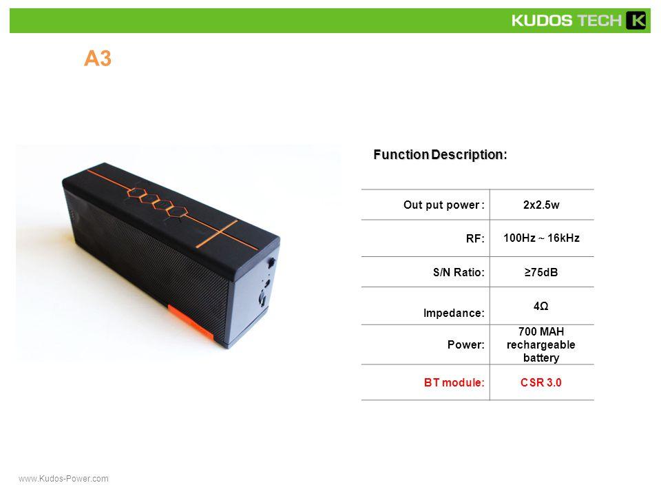 A33 Function Description Function Description: Out put power :2x3.0w RF: 90Hz ~ 16kHz S/N Ratio:≥75dB Impedance: 4Ω Power: rechargeable battery BT Module: Bluetooth 3.0 + NFC www.Kudos-Power.com