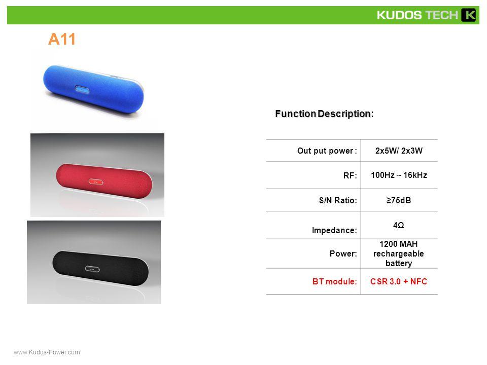 A34 Function Description Function Description: Out put power :1x3.0w RF: 90Hz ~ 16kHz S/N Ratio:≥75dB Impedance: 4Ω Power: rechargeable battery BT Module: Bluetooth 3.0 + NFC www.Kudos-Power.com
