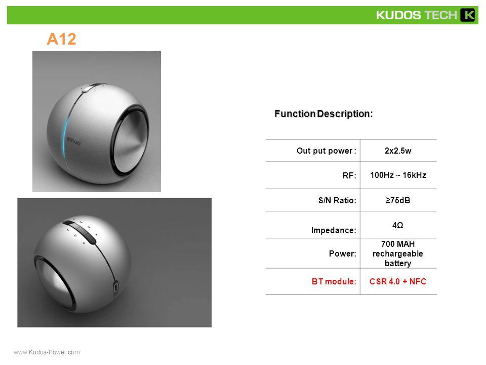 A13 Function Description Function Description: Out put power :2x2.5w RF: 100Hz ~ 16kHz S/N Ratio:≥75dB Impedance: 4Ω Power: 700 MAH rechargeable battery BT module:CSR 4.0 + NFC www.Kudos-Power.com