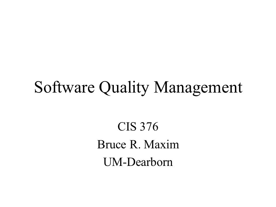 Software Quality Management Concerned with ensuring the required level of quality is achieved in a software product Involves the definition of appropriate quality standards and the definition of procedures to ensure that these standards are followed Works best when a 'quality culture' is created where quality if seen as everyone's responsibility