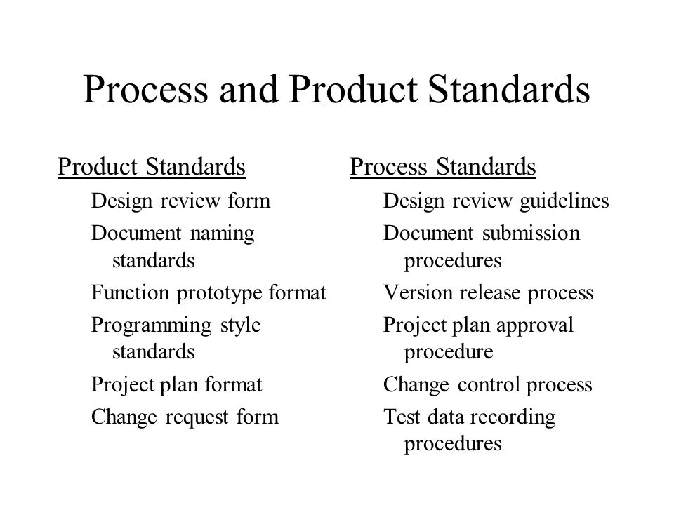 Process and Product Standards Product Standards Design review form Document naming standards Function prototype format Programming style standards Pro