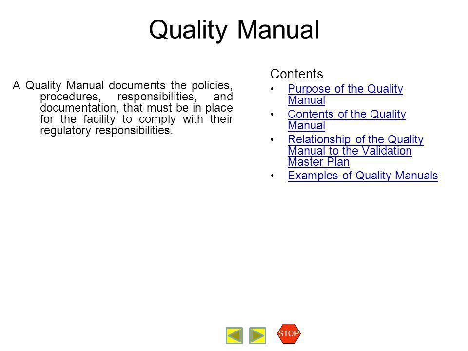 Radiopharmaceutical Production Quality Manual Contents Purpose of the Quality Manual Contents of the Quality Manual Relationship of the Quality Manual to the Validation Master Plan Examples of Quality Manuals STOP Purpose of the Quality Manual The organization should establish and maintain a quality manual that includes a)the quality policy b)the scope of the quality management system, including details of and justification for any exclusions c)the documented procedures established for the quality management system, or reference to them, and d)a description of the interaction between the processes of the quality management system.