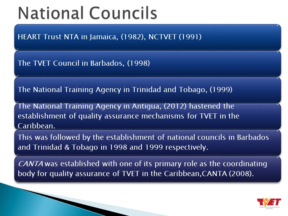 HEART Trust NTA in Jamaica, (1982), NCTVET (1991)The TVET Council in Barbados, (1998)The National Training Agency in Trinidad and Tobago, (1999) The National Training Agency in Antigua, (2012) hastened the establishment of quality assurance mechanisms for TVET in the Caribbean.