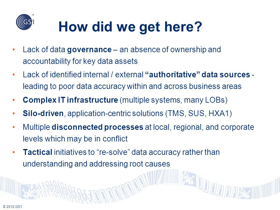 © 2012 GS1 How did we get here? Lack of data governance – an absence of ownership and accountability for key data assets Lack of identified internal /