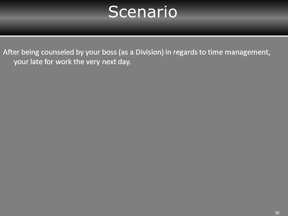 Scenario 10 After being counseled by your boss (as a Division) in regards to time management, your late for work the very next day.