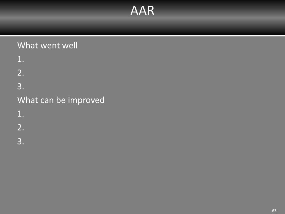 AAR What went well 1. 2. 3. What can be improved 1. 2. 3. 63