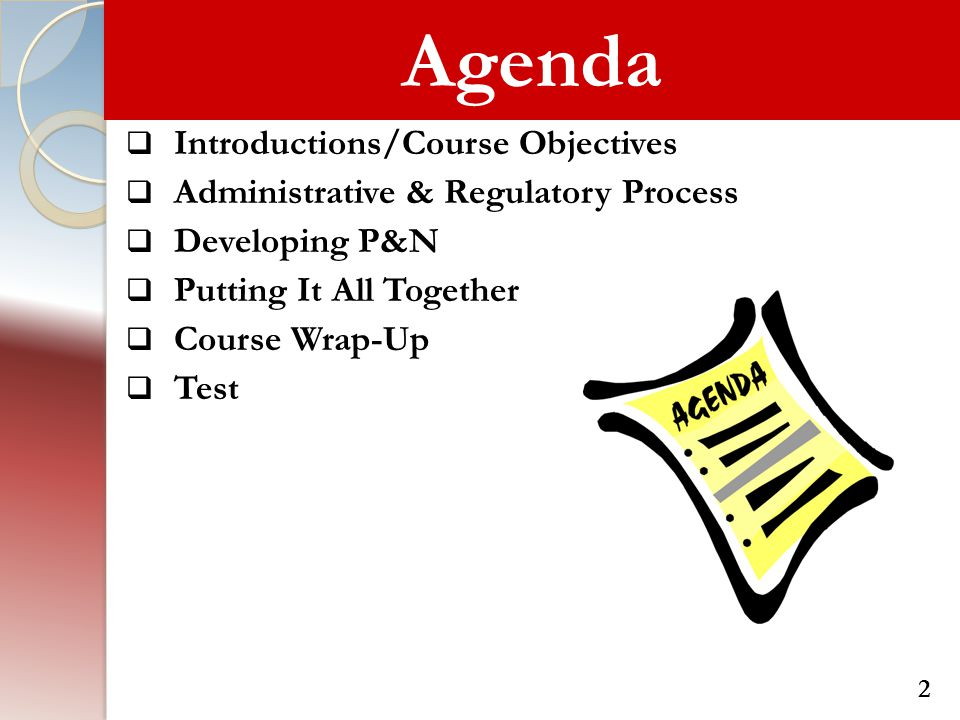 Agenda  Introductions/Course Objectives  Administrative & Regulatory Process  Developing P&N  Putting It All Together  Course Wrap-Up  Test 2