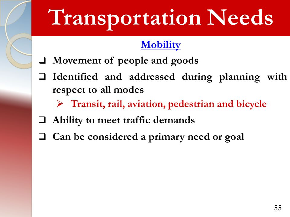 Transportation Needs Mobility  Movement of people and goods  Identified and addressed during planning with respect to all modes  Transit, rail, avi