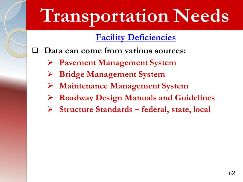 Transportation Needs Facility Deficiencies  Data can come from various sources:  Pavement Management System  Bridge Management System  Maintenance