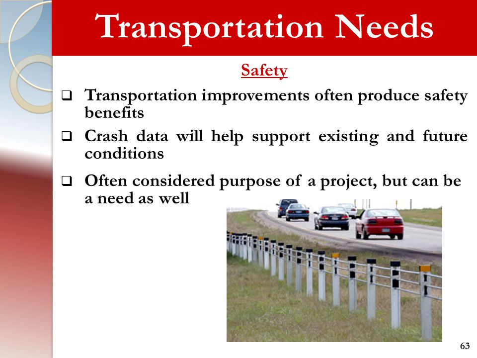 Transportation Needs Safety  Transportation improvements often produce safety benefits  Crash data will help support existing and future conditions