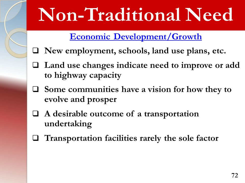 Non-Traditional Need Economic Development/Growth  New employment, schools, land use plans, etc.  Land use changes indicate need to improve or add to