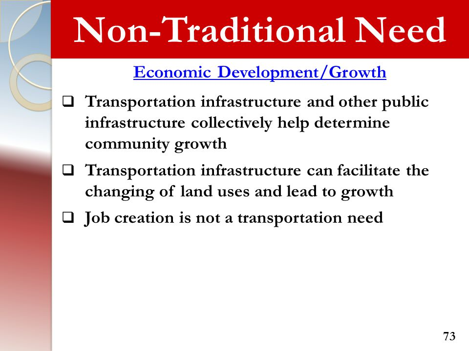 Non-Traditional Need Economic Development/Growth  Transportation infrastructure and other public infrastructure collectively help determine community