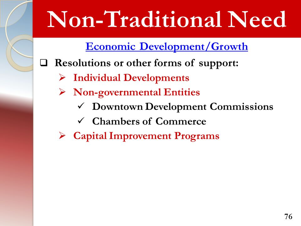 Non-Traditional Need Economic Development/Growth  Resolutions or other forms of support:  Individual Developments  Non-governmental Entities Downto