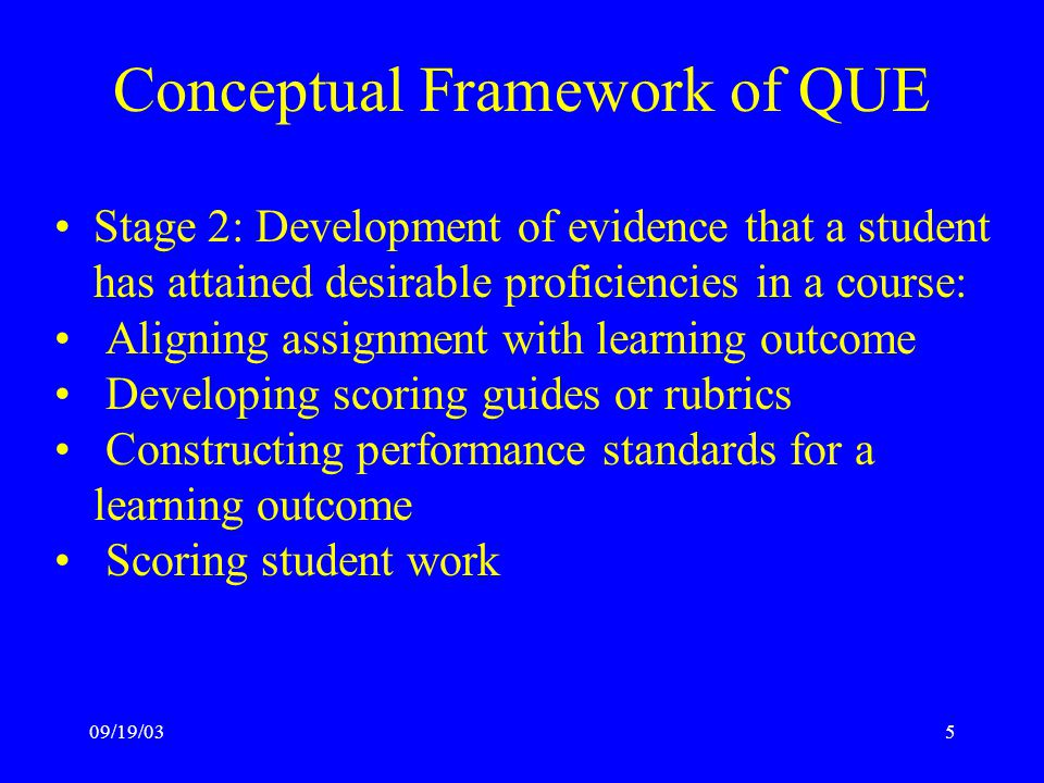 09/19/035 Conceptual Framework of QUE Stage 2: Development of evidence that a student has attained desirable proficiencies in a course: Aligning assignment with learning outcome Developing scoring guides or rubrics Constructing performance standards for a learning outcome Scoring student work