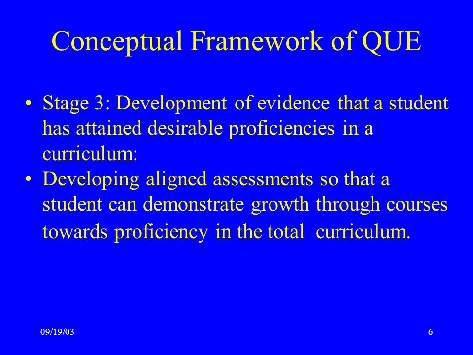 09/19/036 Conceptual Framework of QUE Stage 3: Development of evidence that a student has attained desirable proficiencies in a curriculum: Developing aligned assessments so that a student can demonstrate growth through courses towards proficiency in the total curriculum.