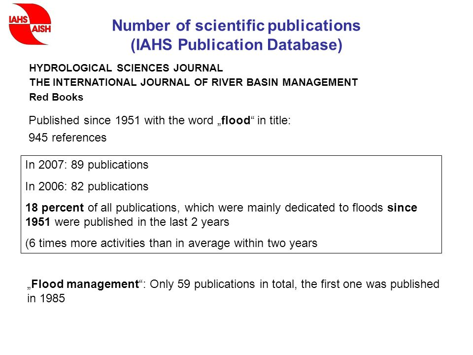 "Number of scientific publications (IAHS Publication Database) Published since 1951 with the word ""flood in title: 945 references HYDROLOGICAL SCIENCES JOURNAL THE INTERNATIONAL JOURNAL OF RIVER BASIN MANAGEMENT Red Books In 2007: 89 publications In 2006: 82 publications 18 percent of all publications, which were mainly dedicated to floods since 1951 were published in the last 2 years (6 times more activities than in average within two years ""Flood management : Only 59 publications in total, the first one was published in 1985"