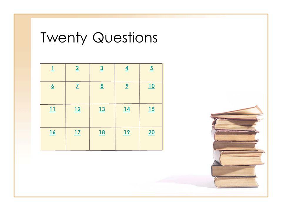 2019181716 1514131211 109876 54321 Twenty Questions