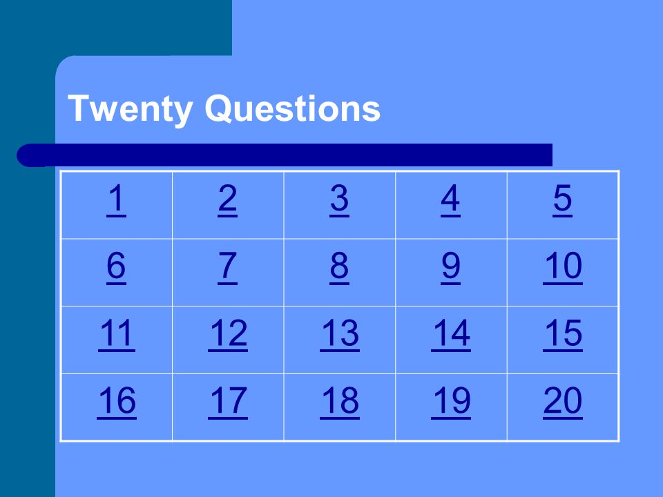 20. Type your first question here. Type the answer here.