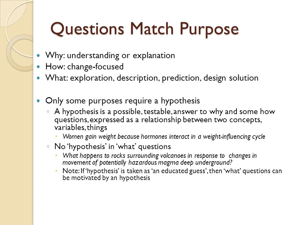 Questions Match Purpose Why: understanding or explanation How: change-focused What: exploration, description, prediction, design solution Only some purposes require a hypothesis ◦ A hypothesis is a possible, testable, answer to why and some how questions, expressed as a relationship between two concepts, variables, things  Women gain weight because hormones interact in a weight-influencing cycle ◦ No 'hypothesis' in 'what' questions  What happens to rocks surrounding volcanoes in response to changes in movement of potentially hazardous magma deep underground.