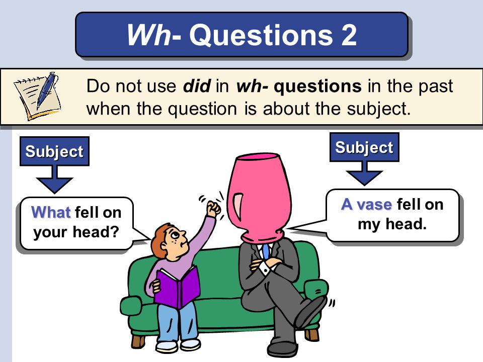 Wherehappen Where did the accident happen? Why did Ben and Lee fall? When did Hector have an accident? Practice 2 Make wh- questions for the colored p