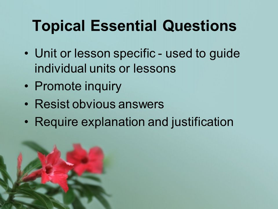 Topical Essential Questions Unit or lesson specific - used to guide individual units or lessons Promote inquiry Resist obvious answers Require explanation and justification