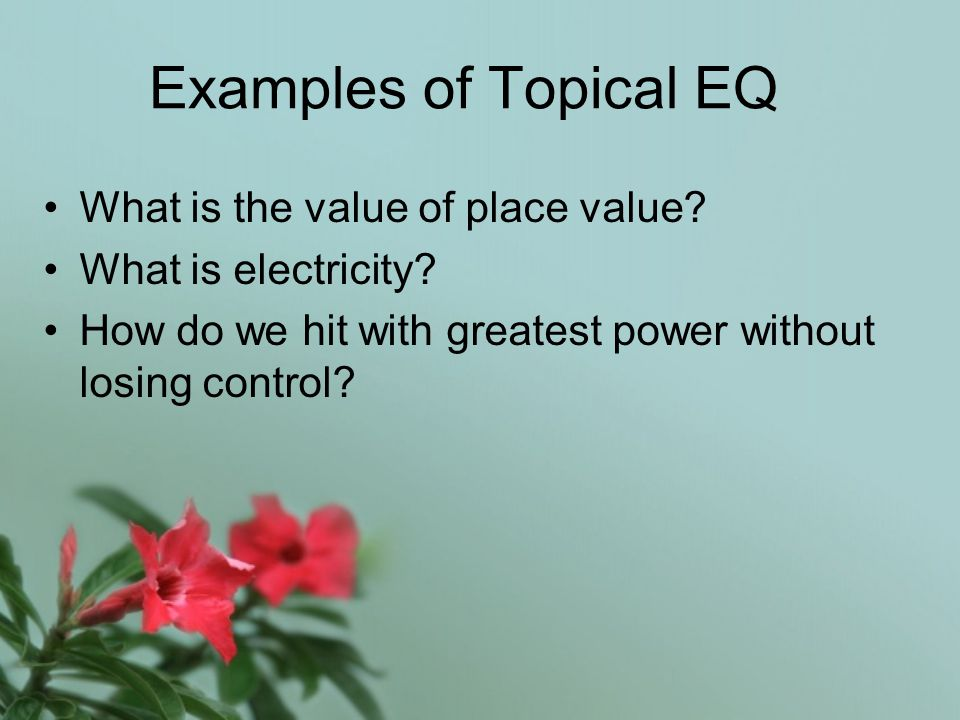 Examples of Topical EQ What is the value of place value.
