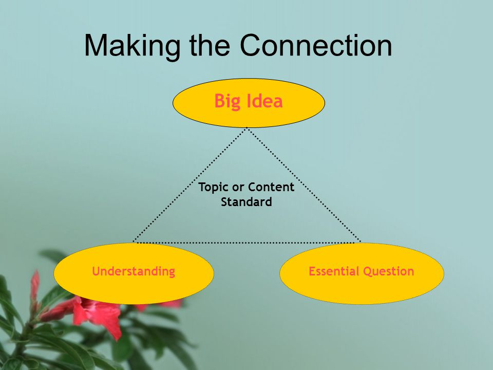 Making the Connection Big Idea UnderstandingEssential Question Topic or Content Standard
