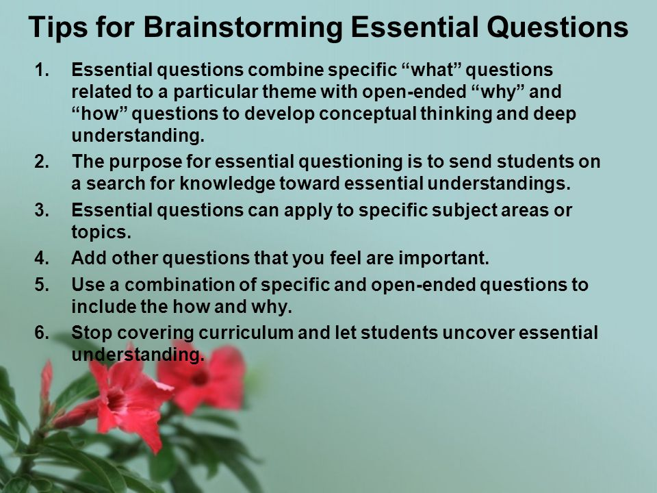 Tips for Brainstorming Essential Questions 1.Essential questions combine specific what questions related to a particular theme with open-ended why and how questions to develop conceptual thinking and deep understanding.