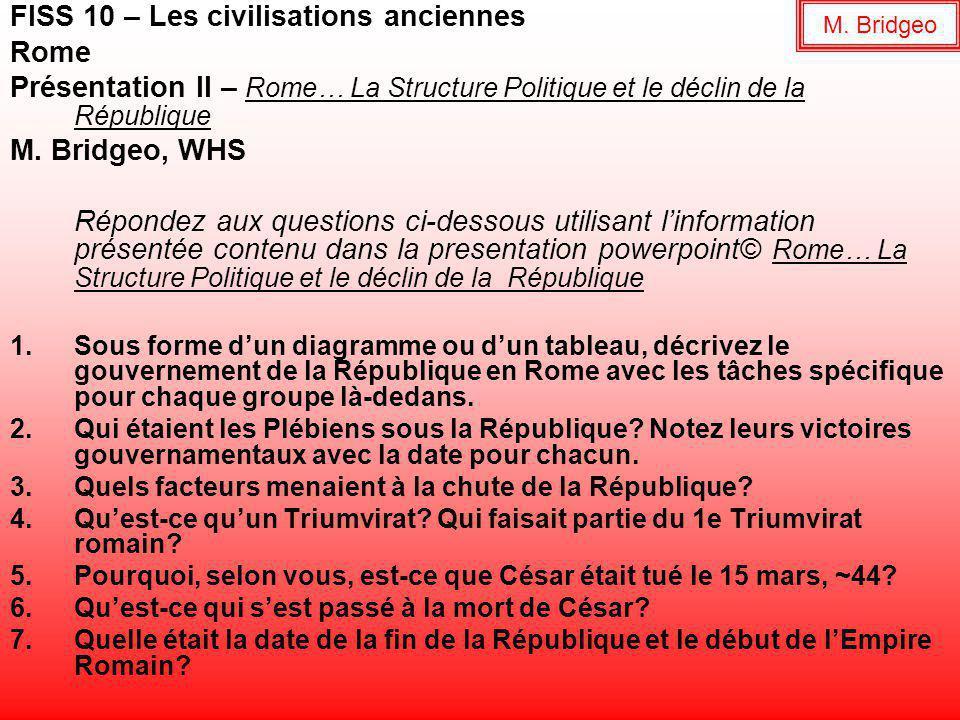 FISS 10 – Les civilisations anciennes Rome Présentation II – Rome… La Structure Politique et le déclin de la République M.