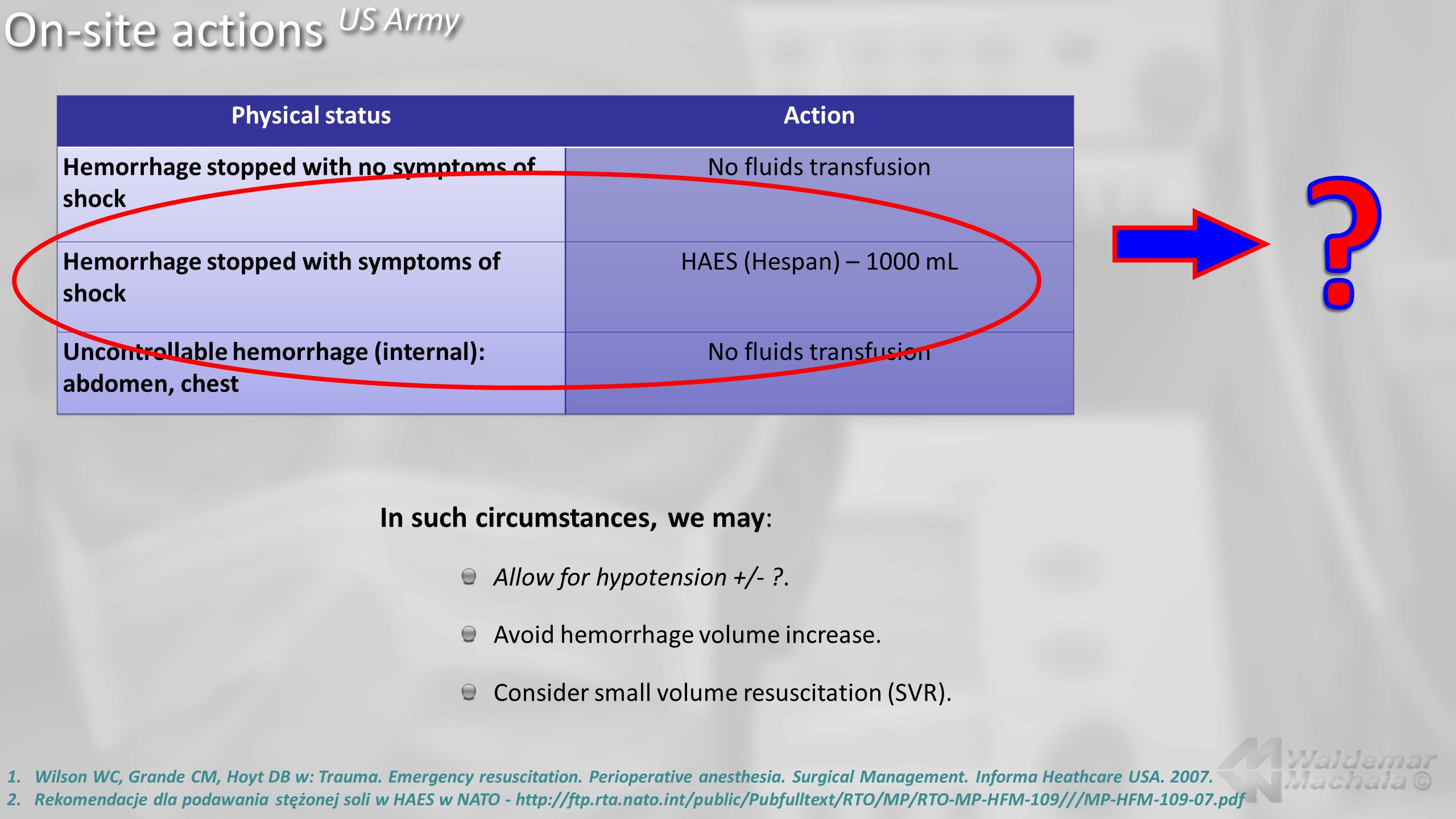 On-site actions US Army In such circumstances, we may: Allow for hypotension +/- ?.