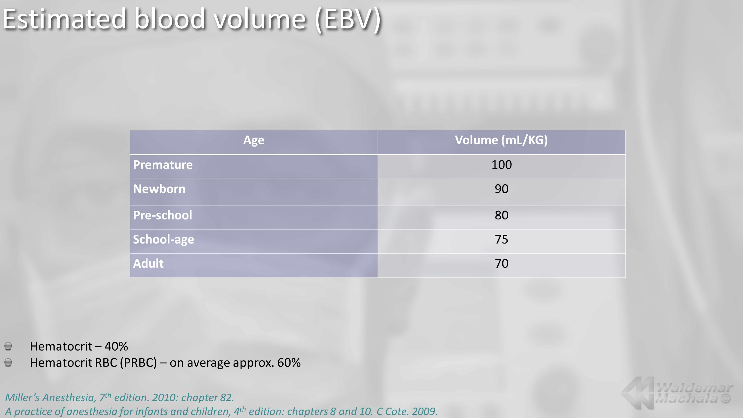 Estimated blood volume (EBV) AgeVolume (mL/KG) Premature100 Newborn90 Pre-school80 School-age75 Adult70 Hematocrit – 40% Hematocrit RBC (PRBC) – on average approx.