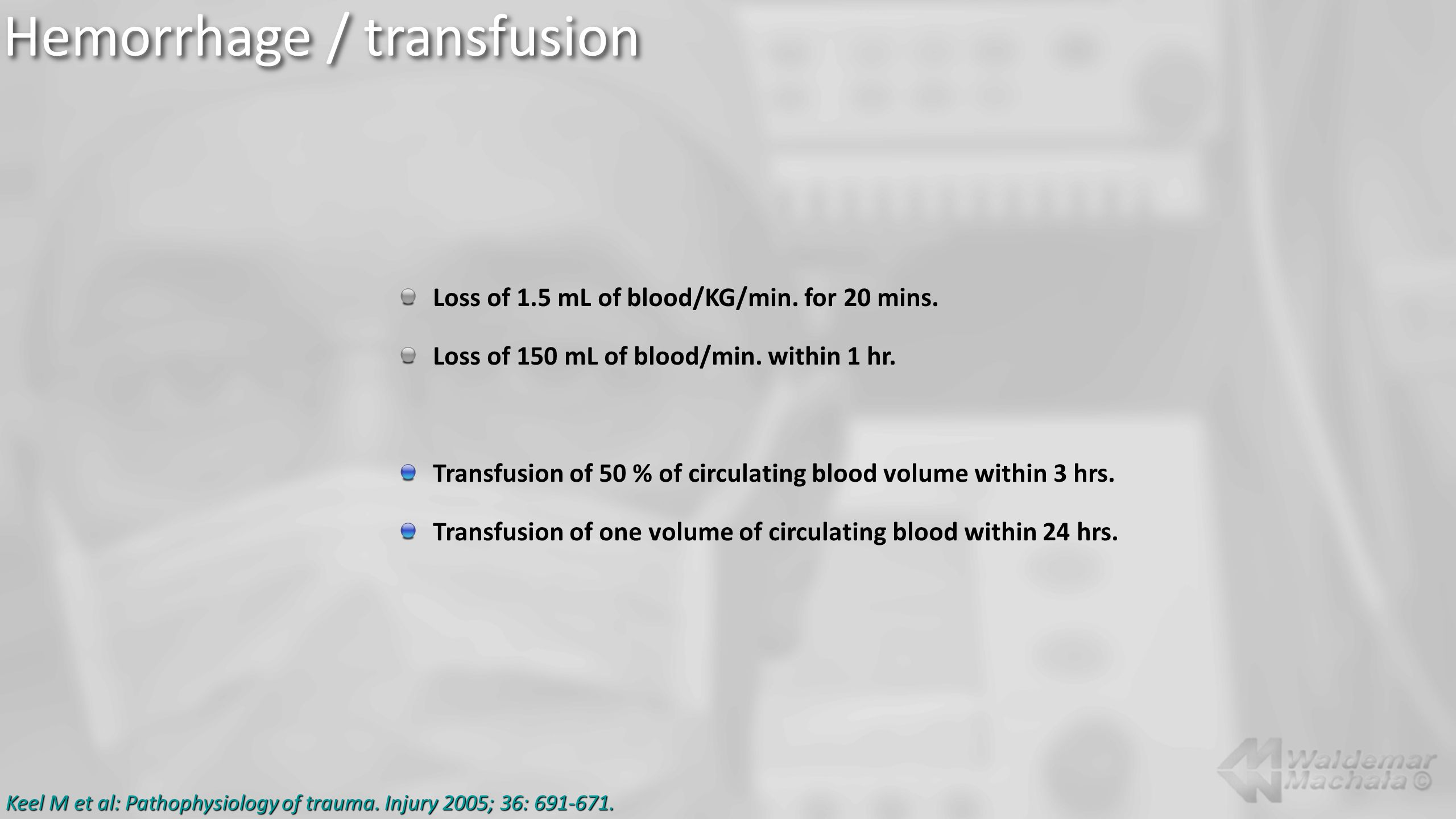 Loss of 1.5 mL of blood/KG/min. for 20 mins. Loss of 150 mL of blood/min.