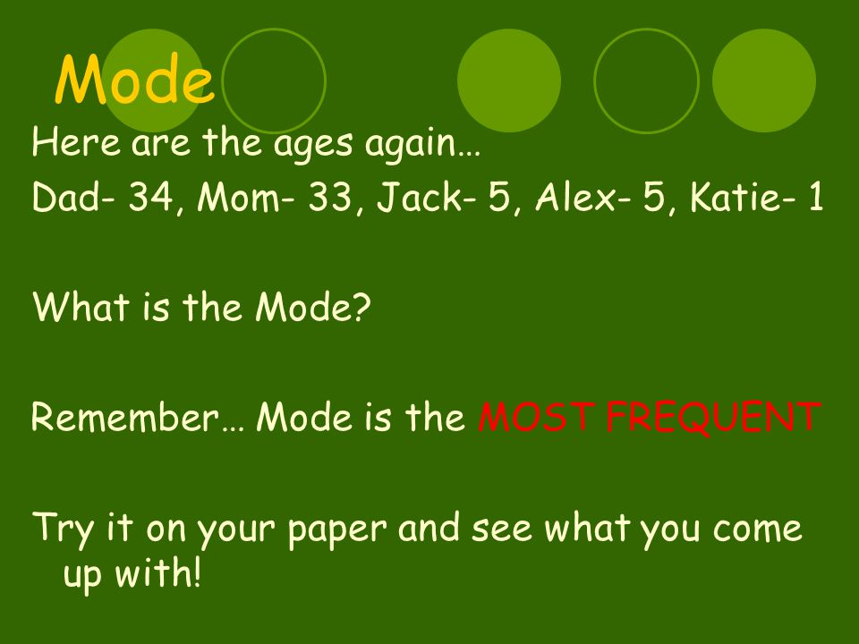Mode Here are the ages again… Dad- 34, Mom- 33, Jack- 5, Alex- 5, Katie- 1 What is the Mode.