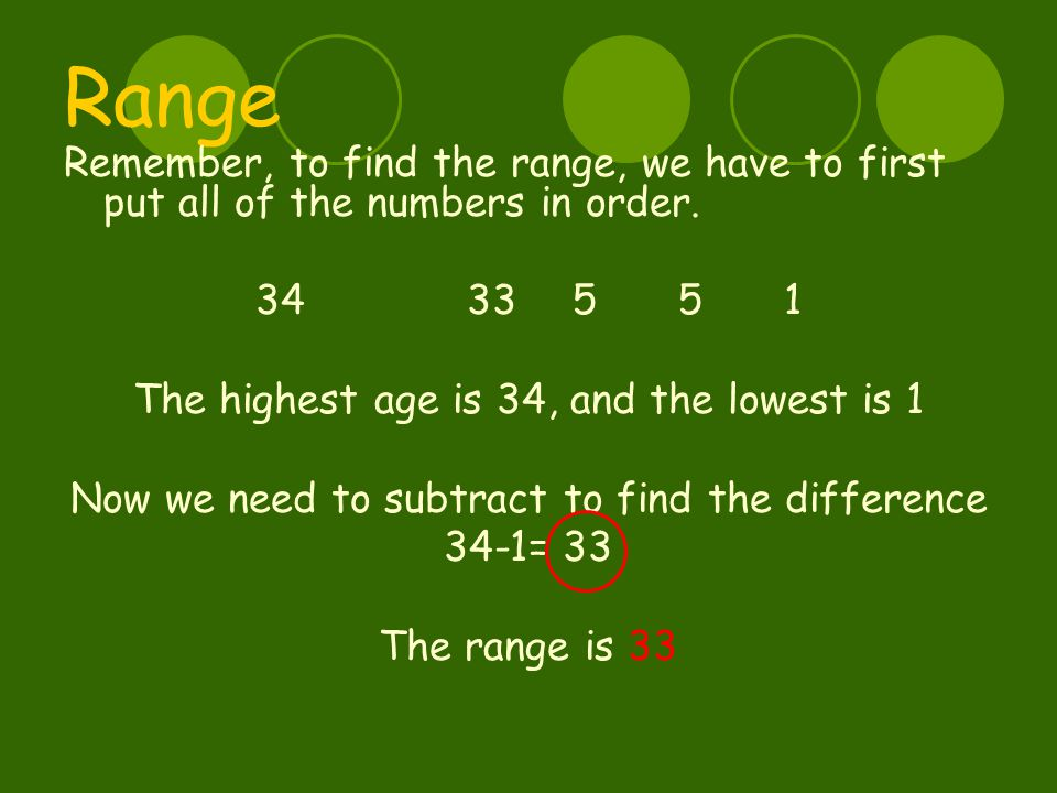 Range Remember, to find the range, we have to first put all of the numbers in order. 3433551 The highest age is 34, and the lowest is 1 Now we need to