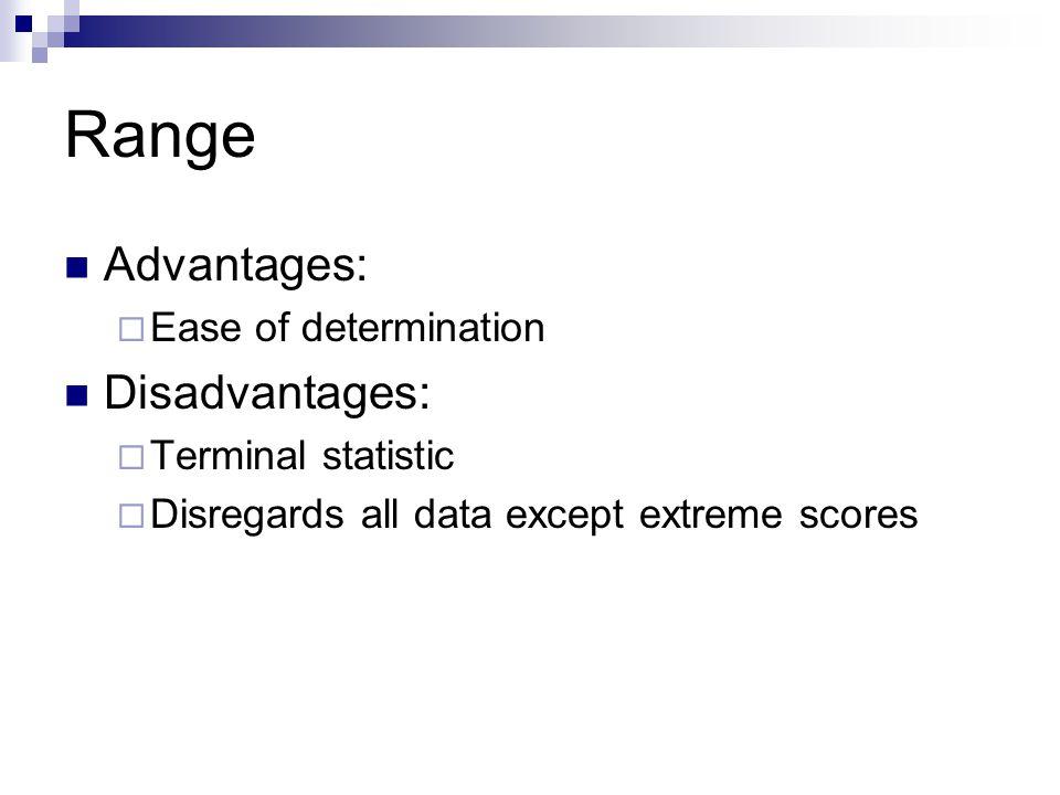 Range Advantages:  Ease of determination Disadvantages:  Terminal statistic  Disregards all data except extreme scores