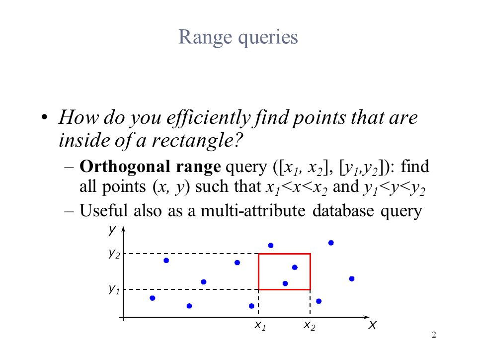 2 Range queries How do you efficiently find points that are inside of a rectangle.