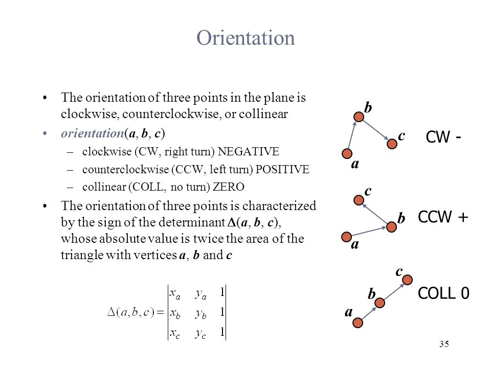 35 Orientation The orientation of three points in the plane is clockwise, counterclockwise, or collinear orientation(a, b, c) –clockwise (CW, right turn) NEGATIVE –counterclockwise (CCW, left turn) POSITIVE –collinear (COLL, no turn) ZERO The orientation of three points is characterized by the sign of the determinant  (a, b, c), whose absolute value is twice the area of the triangle with vertices a, b and c a b c a c b c b a CW - CCW + COLL 0