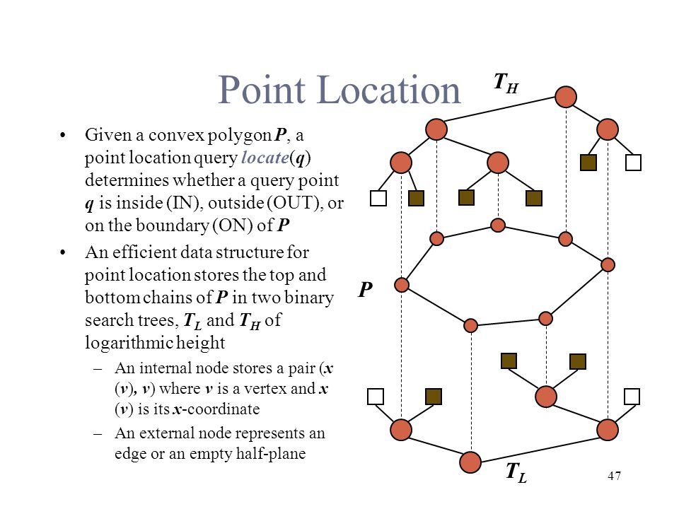 47 Point Location Given a convex polygon P, a point location query locate(q) determines whether a query point q is inside (IN), outside (OUT), or on the boundary (ON) of P An efficient data structure for point location stores the top and bottom chains of P in two binary search trees, T L and T H of logarithmic height –An internal node stores a pair (x (v), v) where v is a vertex and x (v) is its x-coordinate –An external node represents an edge or an empty half-plane P THTH TLTL