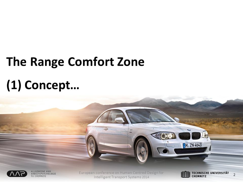 The Range Comfort Zone (1) Concept… 2 European conference on Human Centred Design for Intelligent Transport Systems 2014