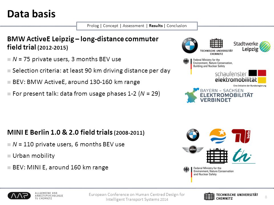 European Conference on Human Centred Design for Intelligent Transport Systems 2014 Data basis BMW ActiveE Leipzig – long-distance commuter field trial (2012-2015) N = 75 private users, 3 months BEV use Selection criteria: at least 90 km driving distance per day BEV: BMW ActiveE, around 130-160 km range For present talk: data from usage phases 1-2 (N = 29) MINI E Berlin 1.0 & 2.0 field trials (2008-2011) N = 110 private users, 6 months BEV use Urban mobility BEV: MINI E, around 160 km range 8 Prolog | Concept | Assessment | Results | Conclusion