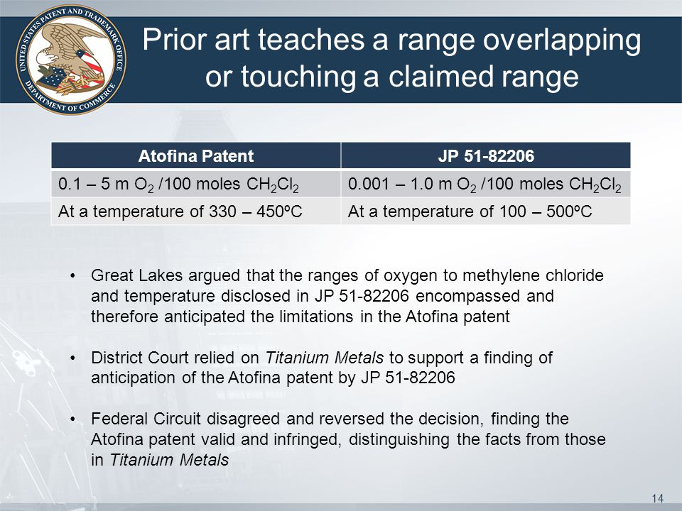 Prior art teaches a range overlapping or touching a claimed range Atofina PatentJP 51-82206 0.1 – 5 m O 2 /100 moles CH 2 Cl 2 0.001 – 1.0 m O 2 /100 moles CH 2 Cl 2 At a temperature of 330 – 450ºCAt a temperature of 100 – 500ºC 14 Great Lakes argued that the ranges of oxygen to methylene chloride and temperature disclosed in JP 51-82206 encompassed and therefore anticipated the limitations in the Atofina patent District Court relied on Titanium Metals to support a finding of anticipation of the Atofina patent by JP 51-82206 Federal Circuit disagreed and reversed the decision, finding the Atofina patent valid and infringed, distinguishing the facts from those in Titanium Metals