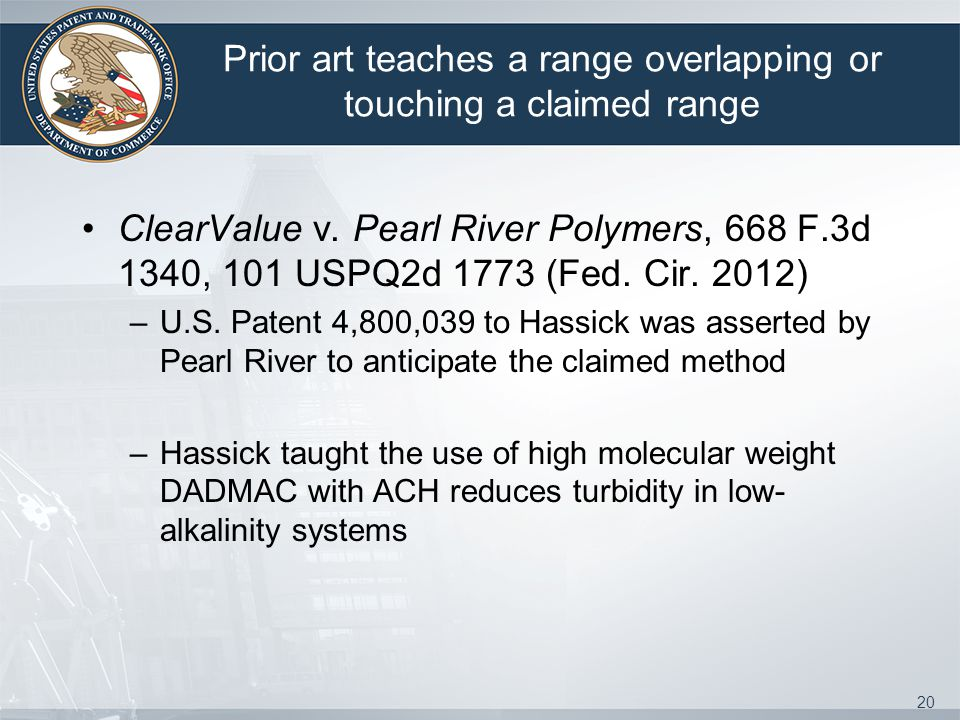 Prior art teaches a range overlapping or touching a claimed range ClearValue v.